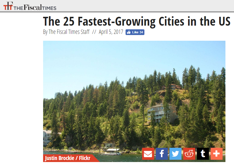 Coeur d'Alene Ranks 11th Fastest Growing Communities in U.S. Boise Ranks 19