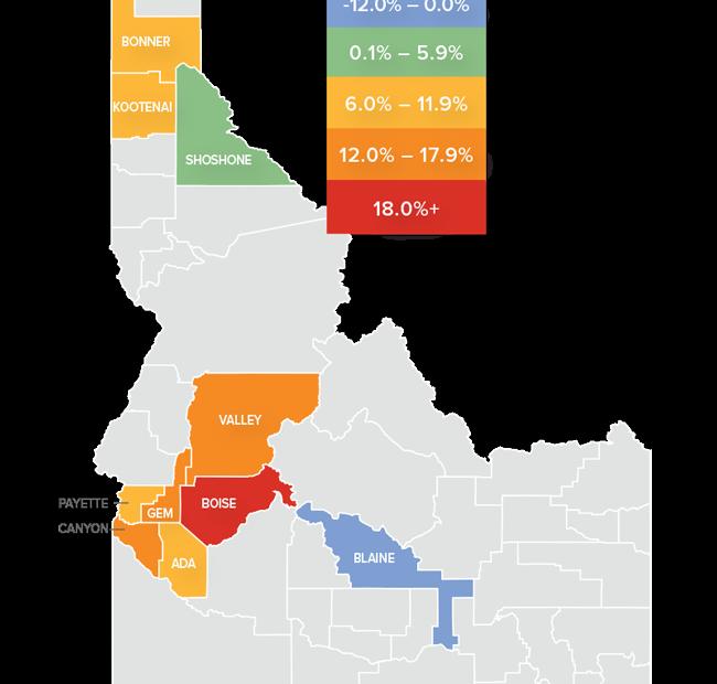 Home prices per Idaho County