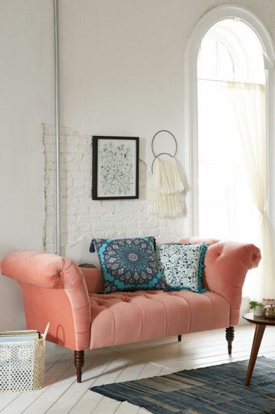 coral accent couch