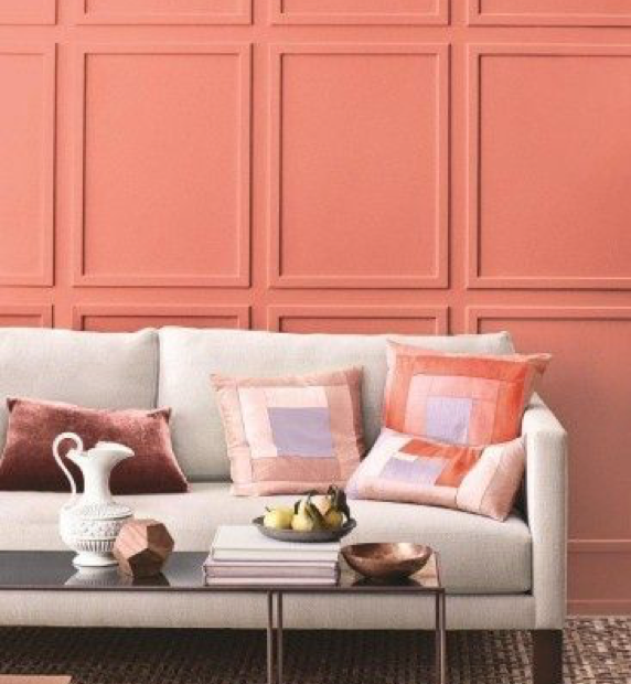 coral accent wall