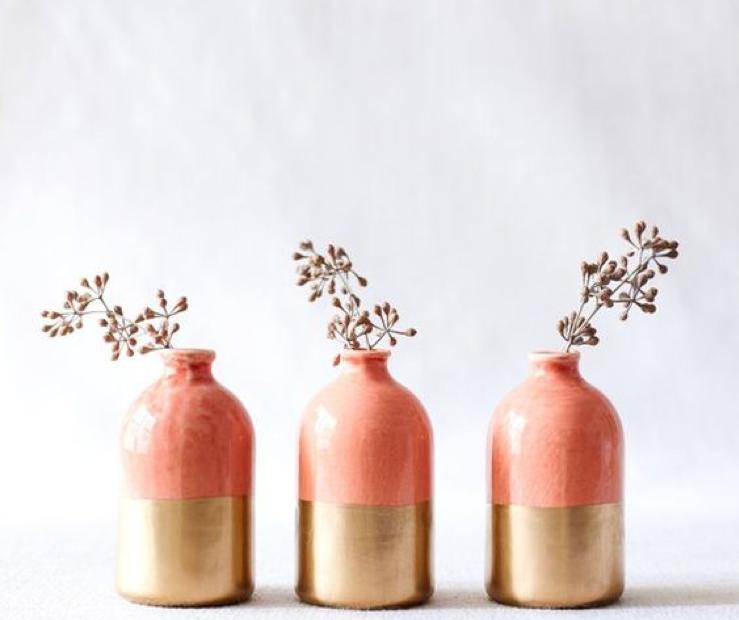 coral accessories vases